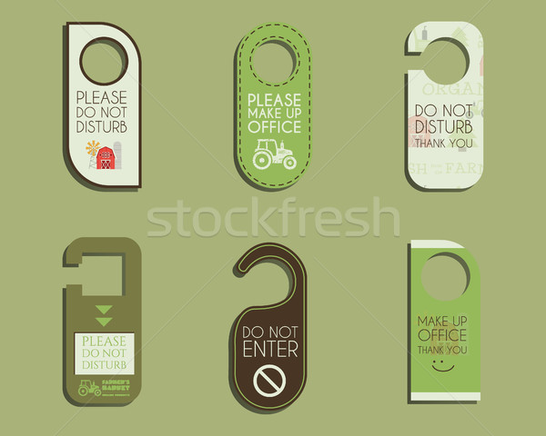 Organic farm, shop and other eco business Door knob or hanger sign set- do not disturb design. With  Stock photo © JeksonGraphics