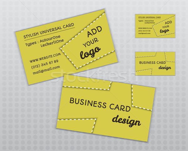 Zomer Geel stijlvol visitekaartje sjabloon ongebruikelijk Stockfoto © JeksonGraphics