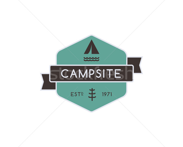 Vintage mountain camping badge, outdoor logo, emblem and label. Forest camp concept, color design. B Stock photo © JeksonGraphics