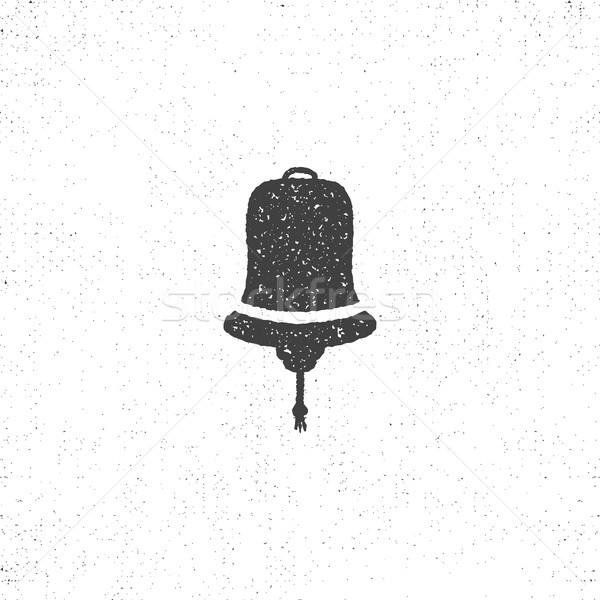 Hand drawn textured ship bell symbol. Nautical icon on roughen style. Vector illustration. Monochrom Stock photo © JeksonGraphics