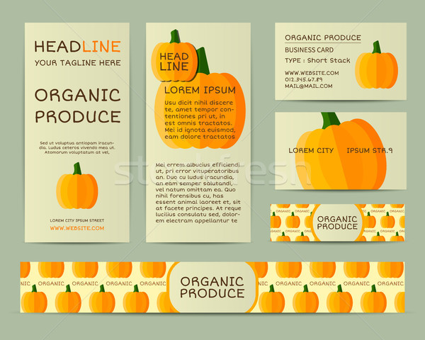 Farm Fresh business corporate identity design with pumpkin. Branding your organic company. Mock up d Stock photo © JeksonGraphics