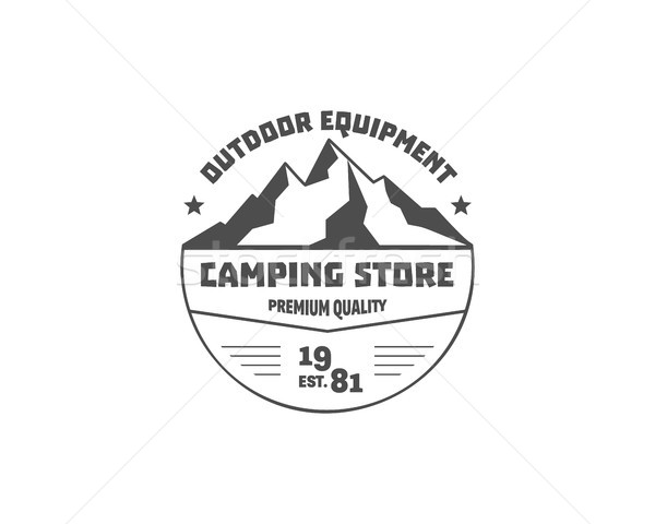 Vintage mountain camping store badge, outdoor logo, emblem and label. Hiking, climbing concept, mono Stock photo © JeksonGraphics