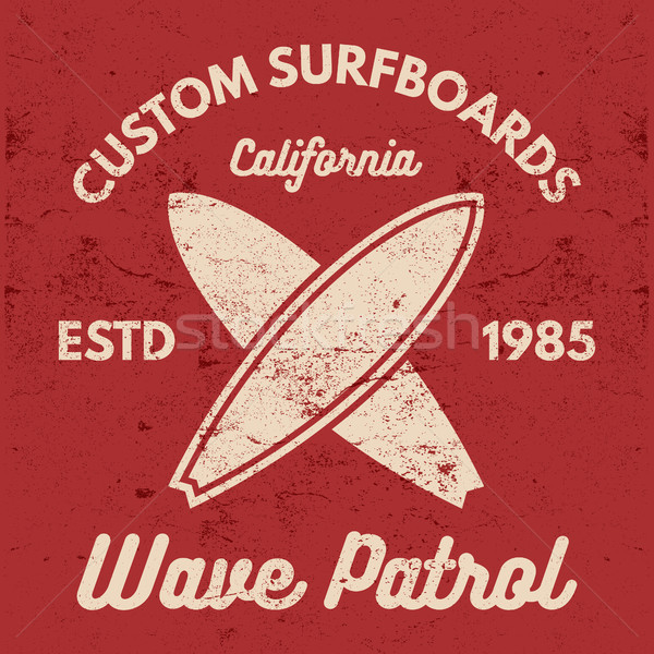 Vintage Surfing tee design. Retro t-shirt Graphics and Emblems for web design or print. Surfer, beac Stock photo © JeksonGraphics