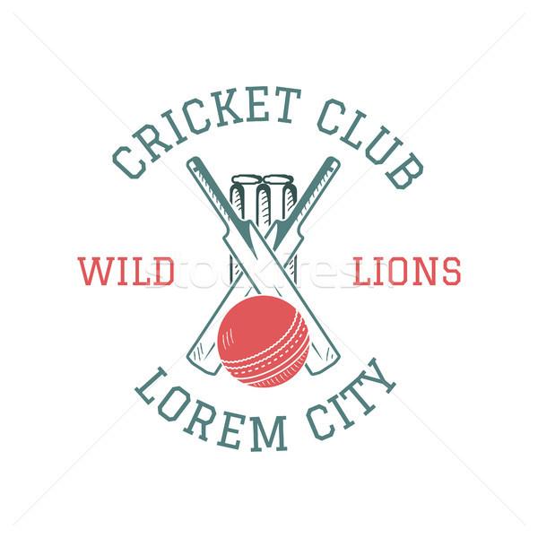 Retro críquete clube emblema projeto logotipo Foto stock © JeksonGraphics