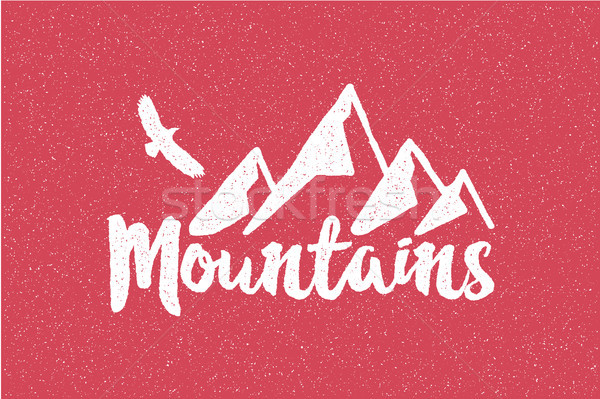 Hand drawn wilderness old style typography poster with retro mountains and eagle Letterpress Print R Stock photo © JeksonGraphics