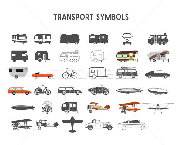 Stock photo: Transport vector shapes and elements for creation your own outdoor labels, wilderness retro patches,