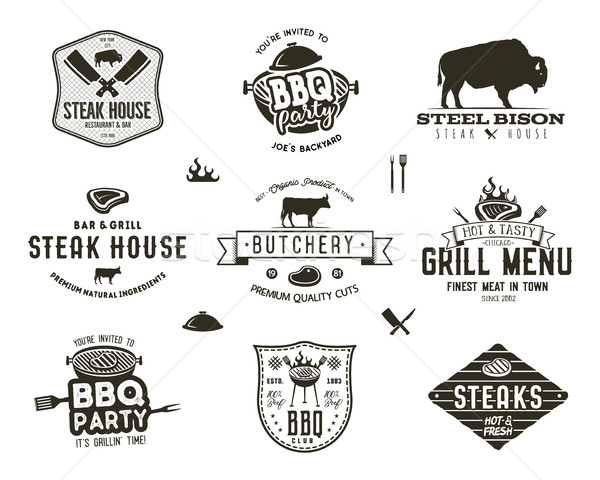 Ingesteld vintage biefstuk huis bbq partij Stockfoto © JeksonGraphics