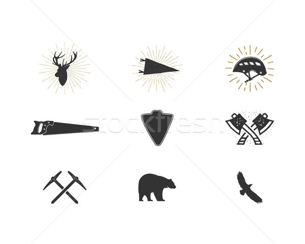 Outdoor adventure silhouette icons set. Climb and lumberjack shapes collection. Simple black pictogr Stock photo © JeksonGraphics