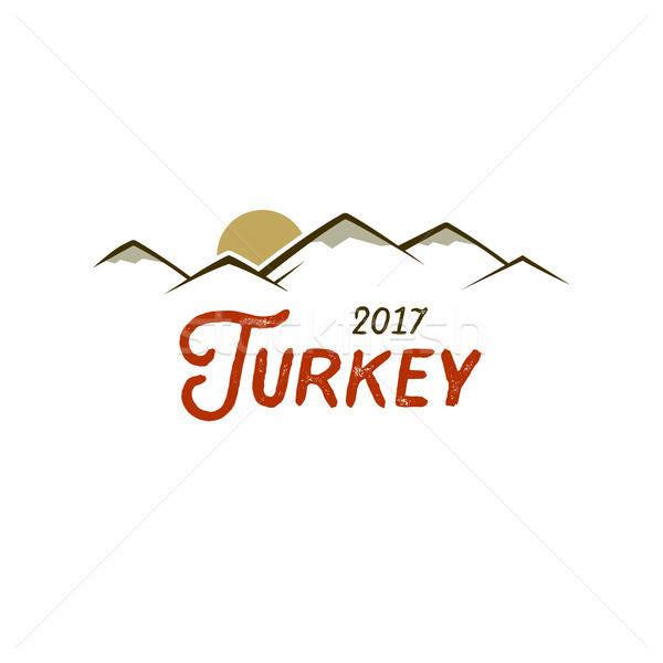Turchia tipografia poster montagna sole testo Foto d'archivio © JeksonGraphics
