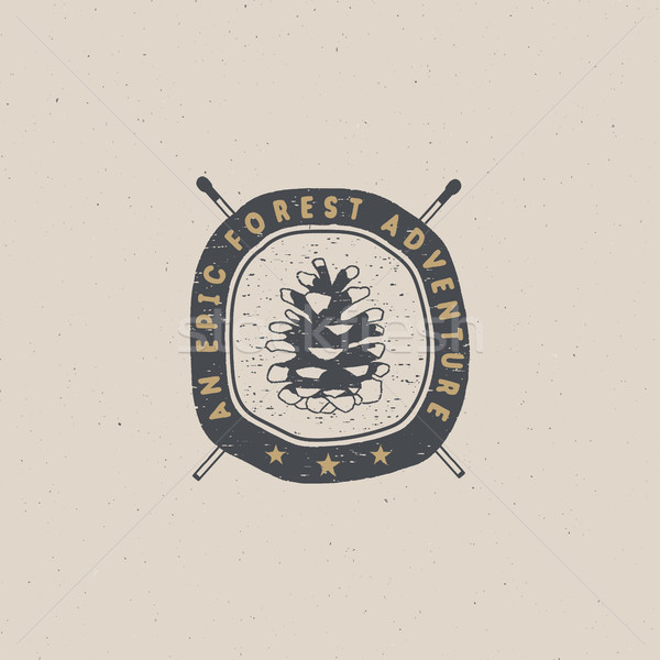 Vintage hand drawn forest adventure badge and emblem. Hiking label. Outdoor inspirational logo. Typo Stock photo © JeksonGraphics