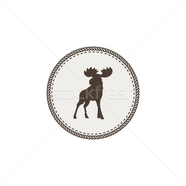 moose icon. Wild animal patch dsign. Stock illustration isolated on white background Stock photo © JeksonGraphics