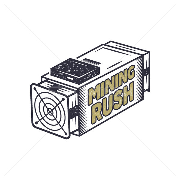 Crypto mining rush concept. Crypto-currency asic equipment logo. Vintage han drawn monochrome design Stock photo © JeksonGraphics