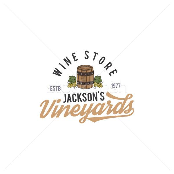 Wine shop logo, label. Organic wines.Vineyard badge. Retro Drink symbol - wine barrel, vines. Typogr Stock photo © JeksonGraphics