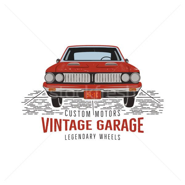 Stock photo: Vintage hand drawn muscle car. Retro red american auto symbol design. USA Classic automobile emblem