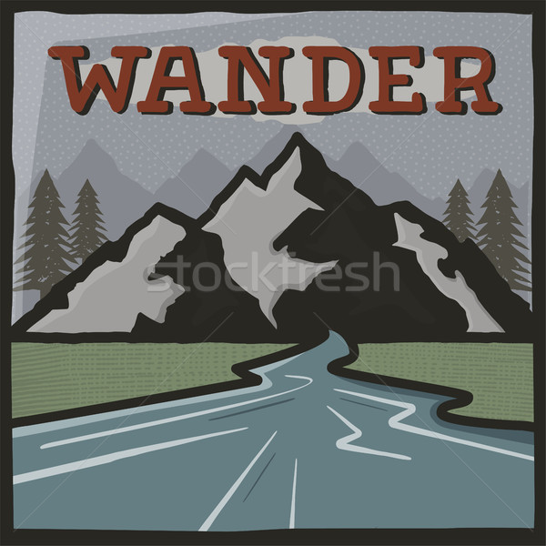 Vintage hand drawn travel poster. Camping label, brochure concept. Mountain expedition logo design.W Stock photo © JeksonGraphics