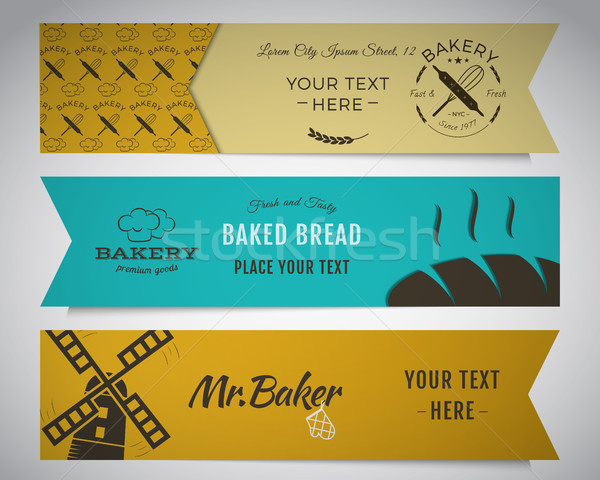 Bakery and food banners collection. Stickers set with fresh bread, windmill icons, logos, labels. St Stock photo © JeksonGraphics