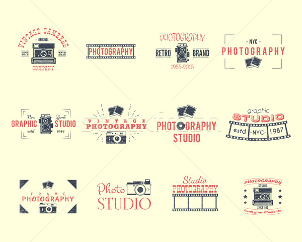 Vintage Textured Photography Badges, Labels. 2 Retro Colors design with stylish cameras and elements Stock photo © JeksonGraphics