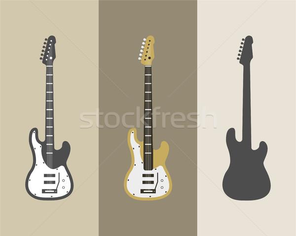 Electric guitar vector icons set. Guitar isolated icons vector illustration. Guitars isolated on whi Stock photo © JeksonGraphics