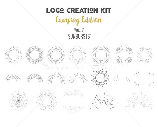 Foto stock: Logotipo · criação · camping · conjunto · vetor