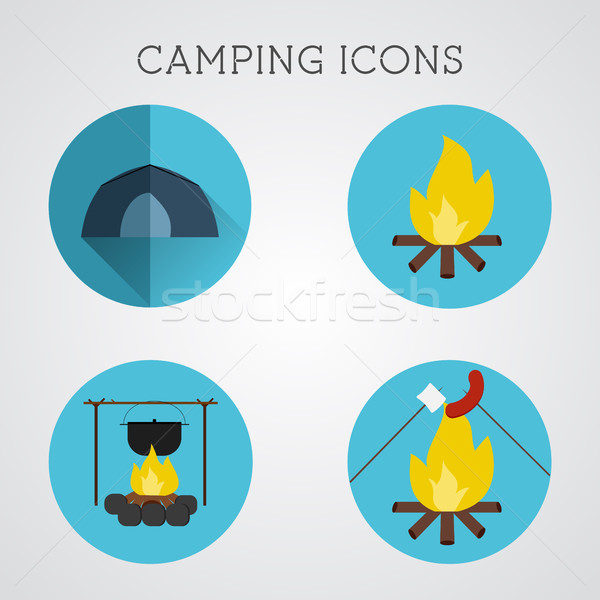 Set of camping symbols and icons. Flat design on blue buttons background. Summer vacation 2015 logo Stock photo © JeksonGraphics