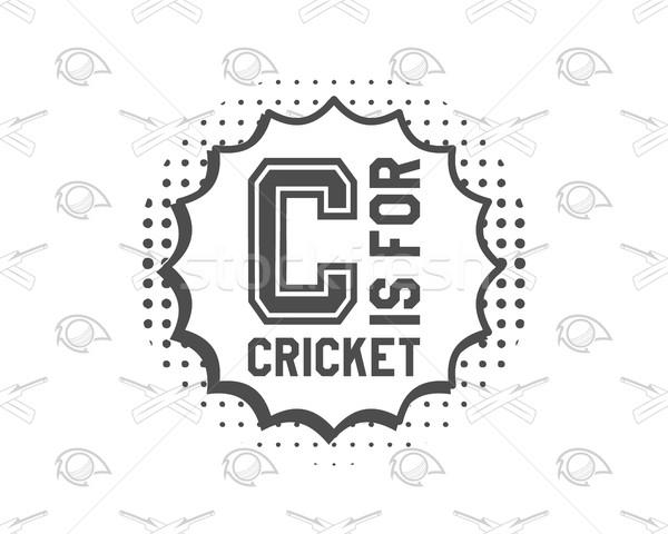Retro cricket club emblem design.  logo icon .  badge. Sports  symbols with  gear, equipment.  tee . Stock photo © JeksonGraphics