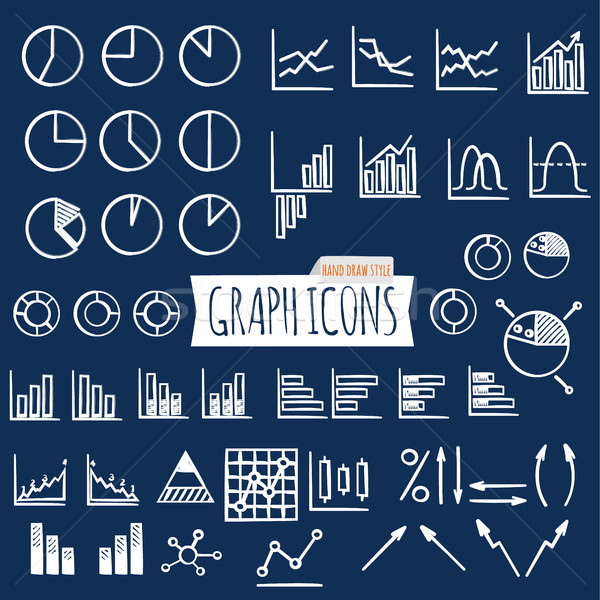 Business charts. Hand Draw style. Set of thin line graph icons. Outline Stock photo © JeksonGraphics