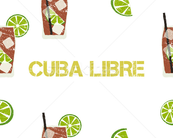 Seamless Pattern of Cuba Libre cocktail with lime and sign. White background. Vector Stock photo © JeksonGraphics