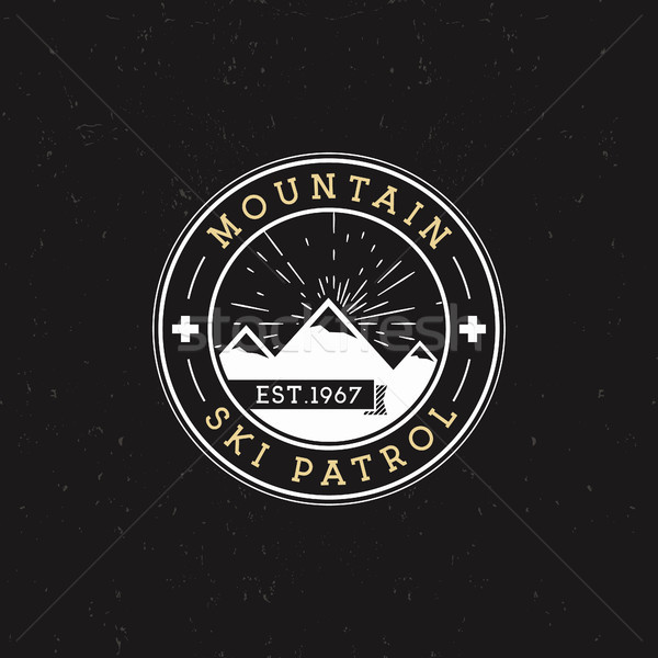 Camping Label. Vintage Mountain ski patrol round patch. Outdoor adventure logo design. Travel retro  Stock photo © JeksonGraphics
