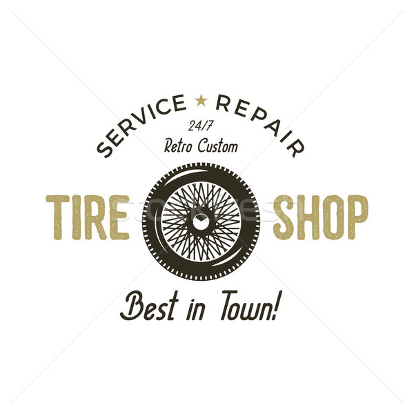 Car garage vintage label. Retro illustration of car garage emblem. Vector car garage logo with tire  Stock photo © JeksonGraphics