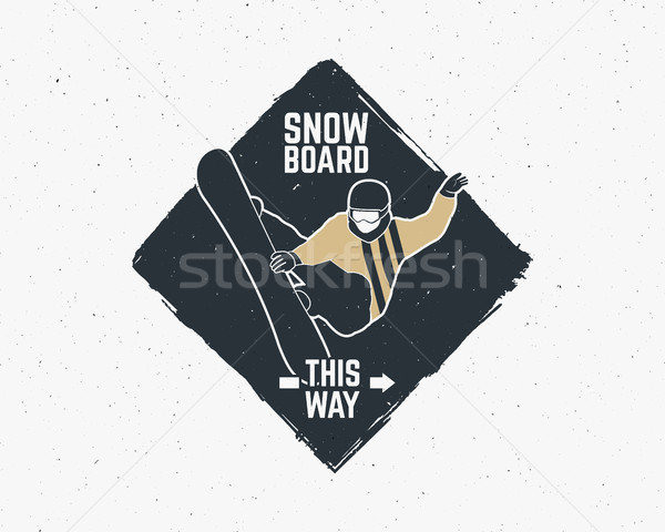 сноуборд наклейку Vintage горные исследователь Label Сток-фото © JeksonGraphics