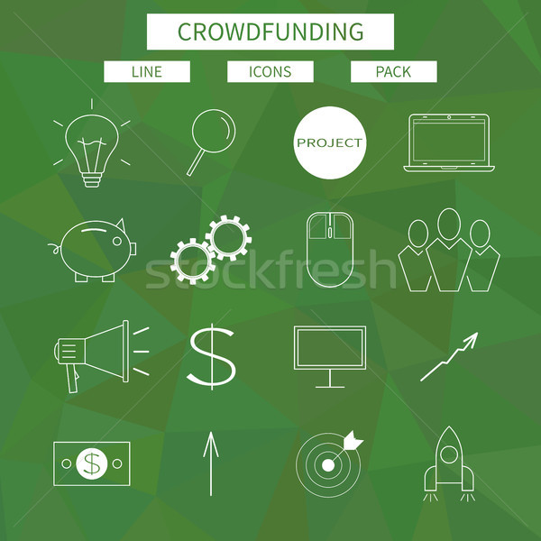 Flat line icons set of crowd funding service, investing platform for creative project, development o Stock photo © JeksonGraphics