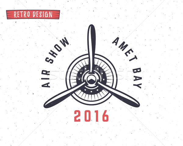 Stock photo: Airplane propeller emblem. Biplane label. Retro Plane badges, design elements. Vintage prints for t