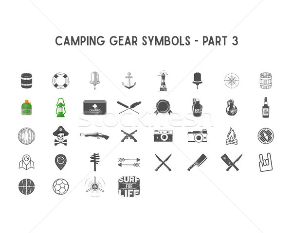 Stock photo: Set of Vector silhouette icons and shapes with different outdoor gear, camping symbols for creating