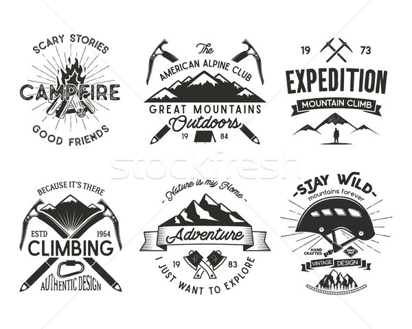 Vintage mountaineering badges set. Climbing logo, vintage vector emblems. Climb alpinism gear - helm Stock photo © JeksonGraphics
