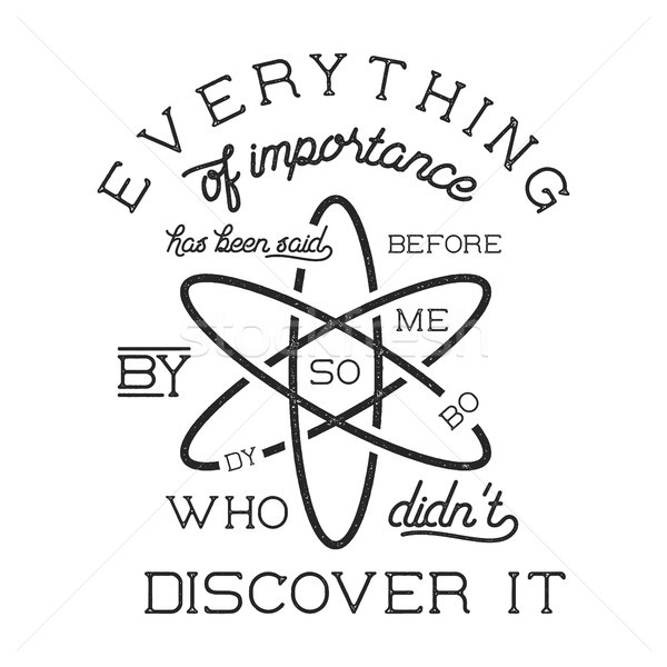 Vintage science poster and background with Stigler s law of eponymy and atom icon. Science backgroun Stock photo © JeksonGraphics