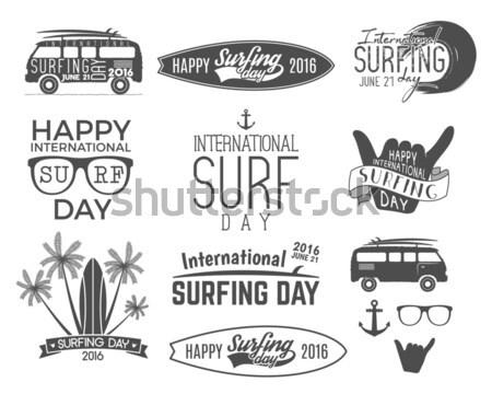 Set of Vintage Surfing Graphics and Emblems for web design or print. Surfer logotypes. Surf Badges.  Stock photo © JeksonGraphics