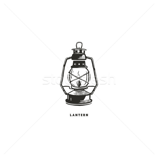 Vintage hand drawn lantern concept. Perfect for logo design, badge, camping labels. Monochrome. Symb Stock photo © JeksonGraphics