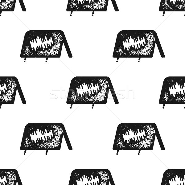 Tent seamless pattern in silhouette retro style. Vintage hand drawn camping symbols wallpaper. Stock Stock photo © JeksonGraphics