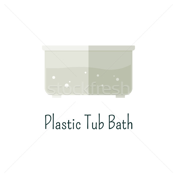 Plastic tub bath flat icon. Isolated color pictogram. Vacation with family concept. Summer graphic f Stock photo © JeksonGraphics