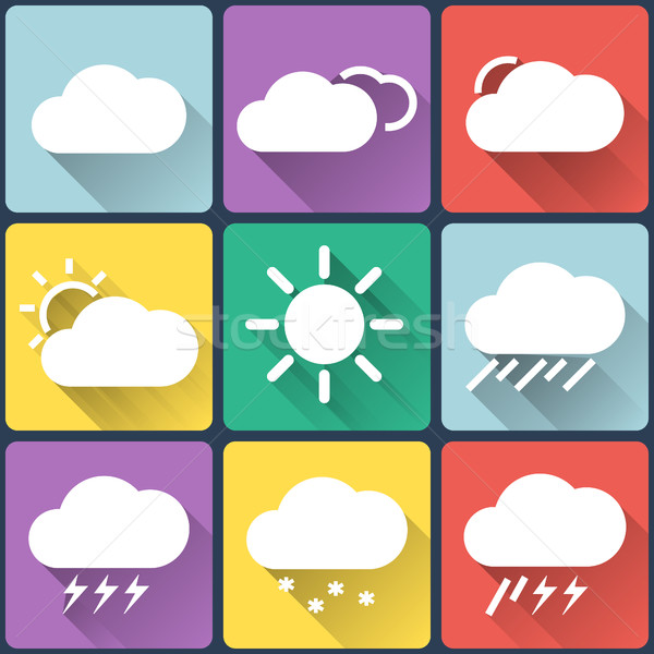 Weather flat icons set on multicolor background buttons. Seasons theme, easy to use as icons, logo o Stock photo © JeksonGraphics