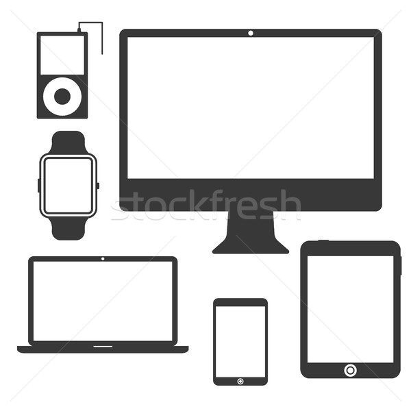 Stock photo: Set of Silhouette Devices.