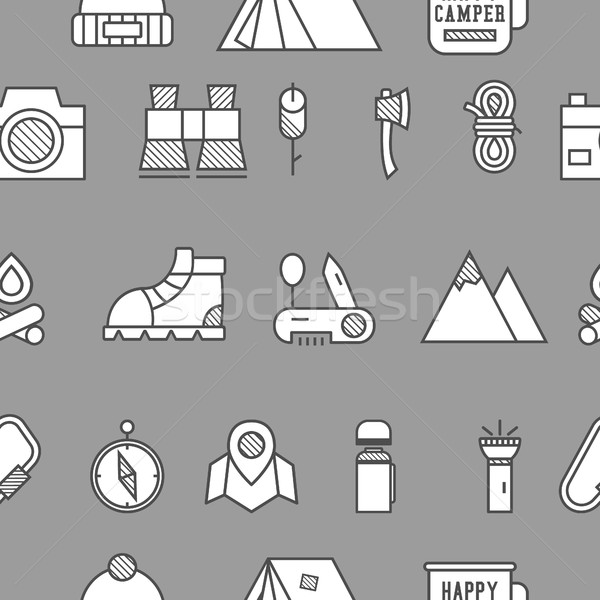 Camping, travel seamless pattern with thin line icon style, flat design. Mountain and climbing theme Stock photo © JeksonGraphics