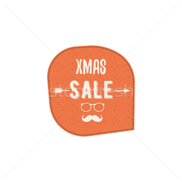 Christmas, and new year sale label, tag with a winter holiday symbols - tree, typography elements. r Stock photo © JeksonGraphics