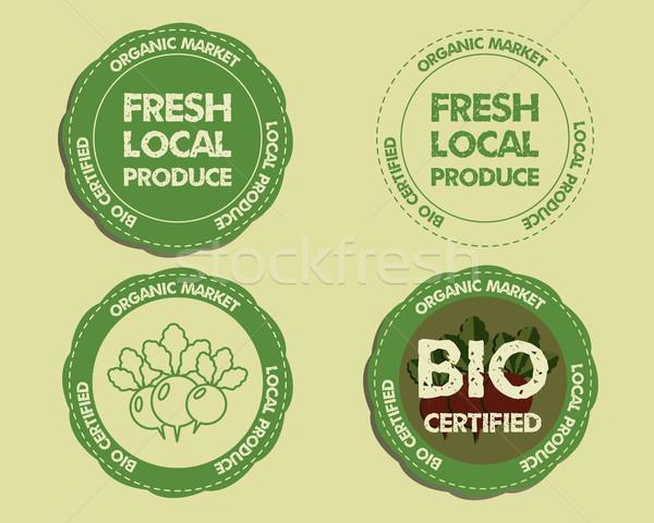 Summer Farm Fresh branding identity elements. Logo, Label, badge, emblem templates. Organic, bio des Stock photo © JeksonGraphics