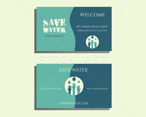 Save water conference visiting card template with drops and hands logo template. Isolated on bright  Stock photo © JeksonGraphics
