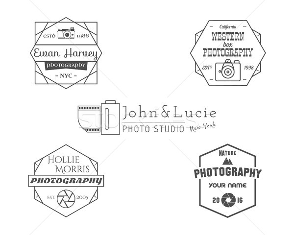 Vintage Photography Badges, Labels. Monochrome design with stylish old cameras and elements. Retro s Stock photo © JeksonGraphics