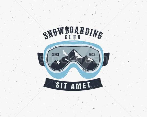 Snowboarding goggles extreme logo, label template. Winter snowboard sport store badge. Emblem and ic Stock photo © JeksonGraphics