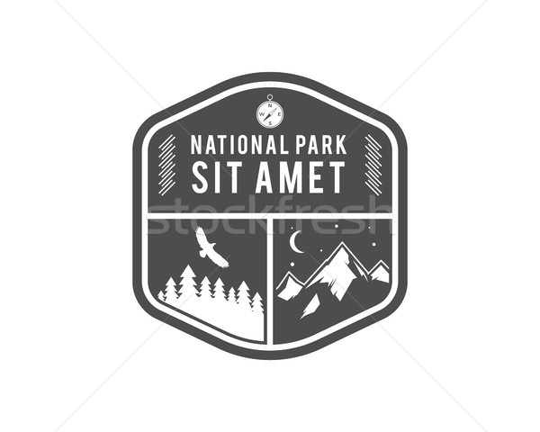 Camping Label. Vintage Mountain winter camp explorer badge. Outdoor adventure logo design. Travel mo Stock photo © JeksonGraphics