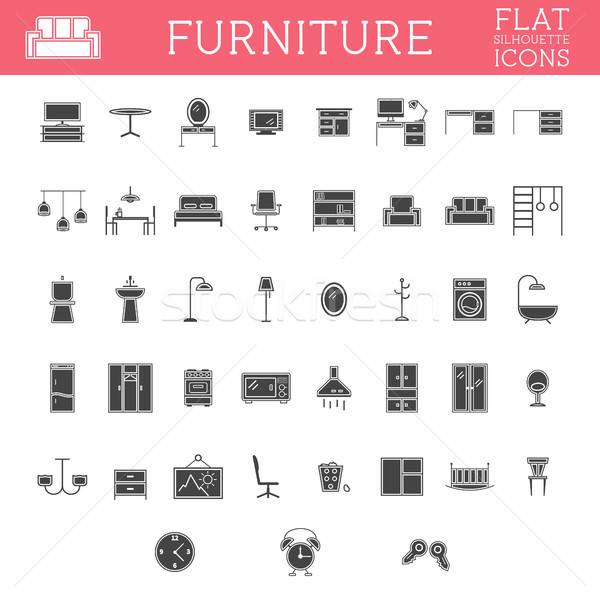 Set Silhouette Möbel Gliederung Symbole trendy Stock foto © JeksonGraphics