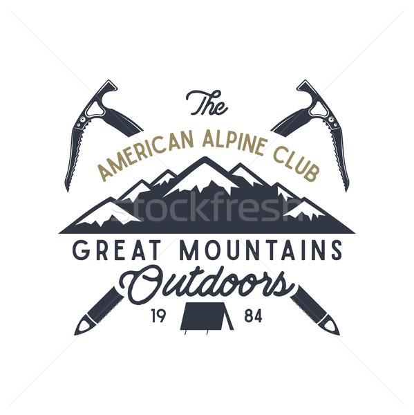 Great mountains outdoors label. Vintage hand drawn travel design. For camp mugs, t shirts, prints. T Stock photo © JeksonGraphics